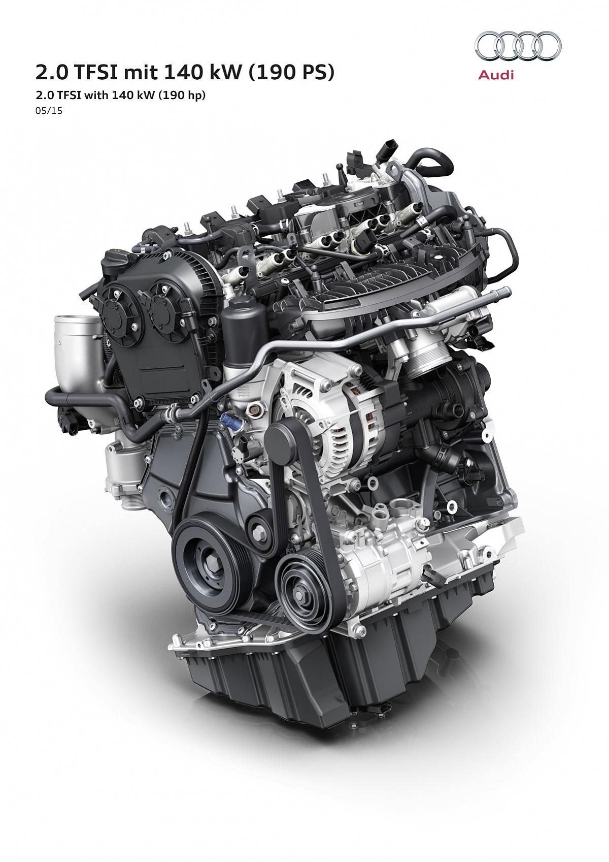 Audi 2.0 TFSI Motor - 140 kW / 190 PS und unter fünf Liter Verbrauch Bild:  Audi