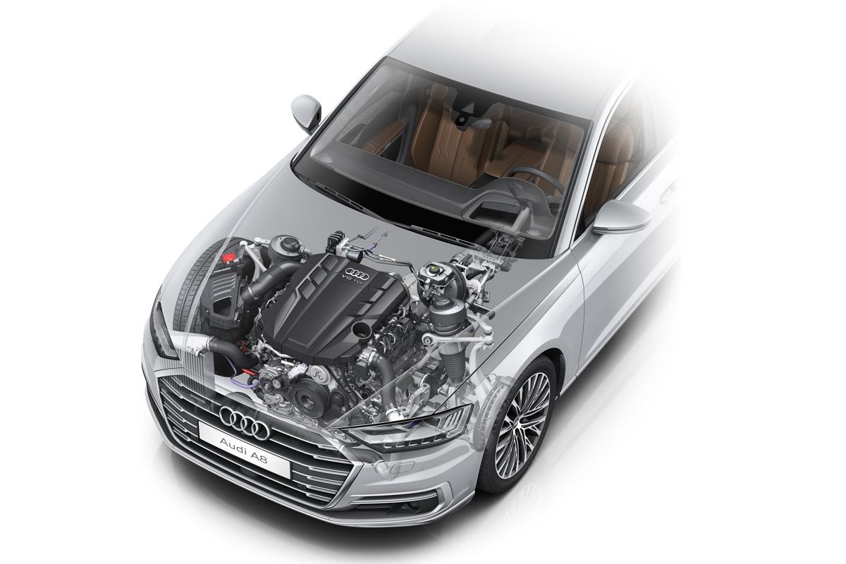 Antrieb des neuen Audi A8 (V6 TDI): Die neue Mild-Hybrid-Technologie, die Audi über die Antriebssysteme spannt, hilft im Falle der V6-Motoren im realen ...